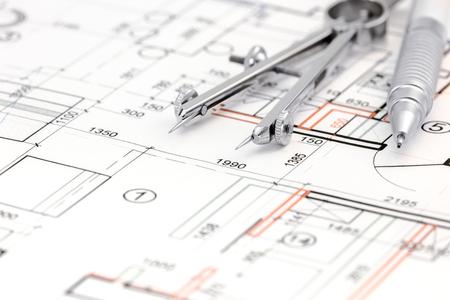 compas de dibujo: plan de dibujos de arquitectura palabra con el comp�s y el l�piz de dibujo