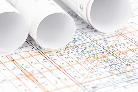 floor plan: engineering drawing detail and rolls of floor plan blueprints
