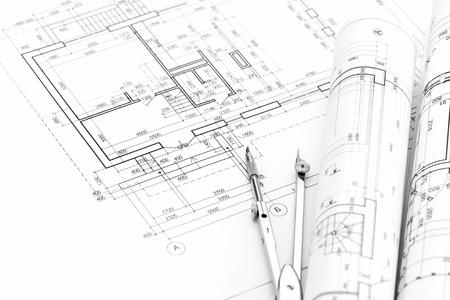 compas de dibujo: Fondo arquitectónico con el plan, planos rollos y compás de dibujo Foto de archivo