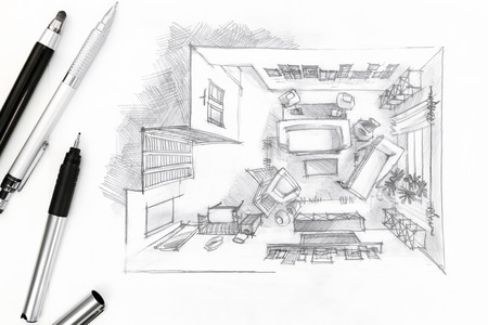 drawing room: graphical sketch of an interior living room with drawing tools