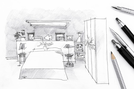architecture drawing: sketch of bedroom with drawing tools on paper background