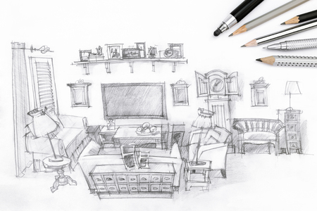 drawing room: living room graphical sketch with drawing tools