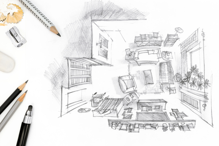 drawing room: sketch of living room with drawing tools on paper background