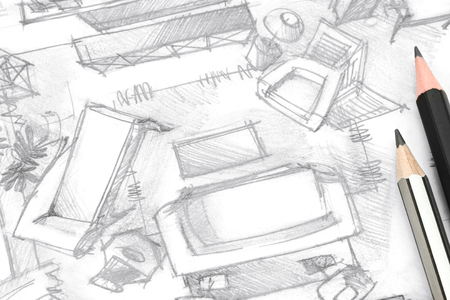 drawing room: top view living room freehand sketch architectural drawing with pencils