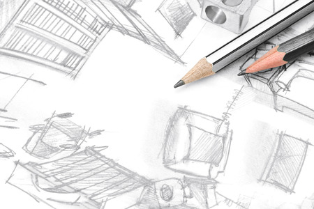 top view freehand drawing of modern living room with drawing tools