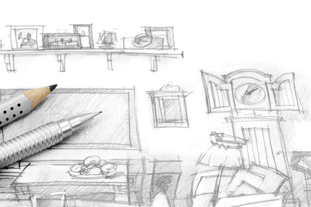 drawing room: graphical drawing of living room furniture with pencils Stock Photo