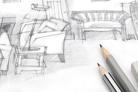 drawing room: freehand drawing of modern living room with pencils on paper