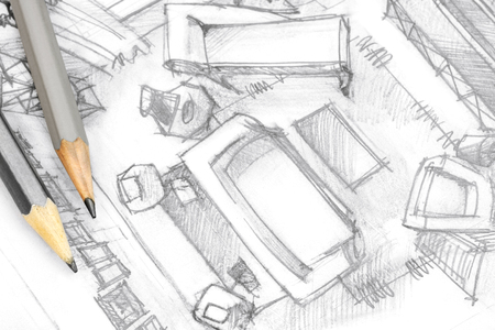 drawing room: top view architectural graphical drawing of living room with drawing tools