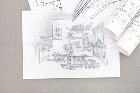 living room interior: hand drawing illustration of living room interior with blueprints rolls and pencils Stock Photo