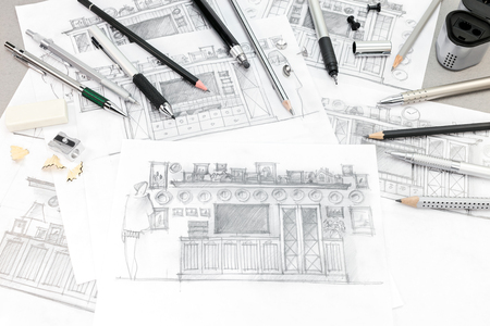 home renovation: concept of home renovation with interior sketches and drawing tools, top view