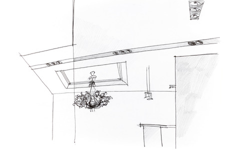 ceiling light: architectural freehand sketch of an idea for ceiling light in apartment