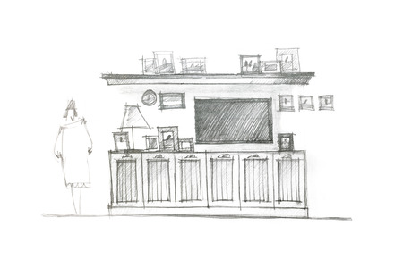 graphical drawing of an entertainment wall for interior living room