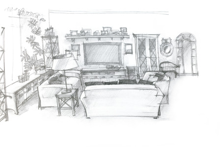drawing room: freehand sketch perspective architectural drawing of living room interior