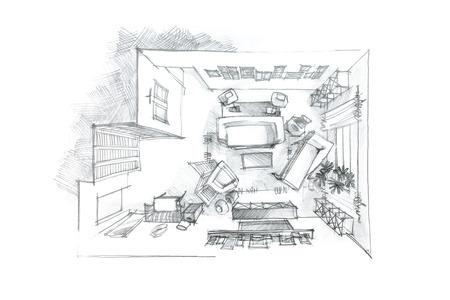 bovenaanzicht grafische potloodtekening van een woonkamer in zwart-wit