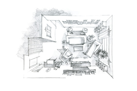 top view graphical pencil drawing of living room in black and white