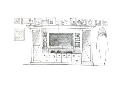 living room wall: designer freehand drawing of variant for a wall unit for living room