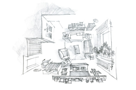 furniture idea: freehand interior sketch of modern living room with furniture, top view Stock Photo