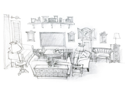 living room interior: architectural hand drawing of modern living room interior design
