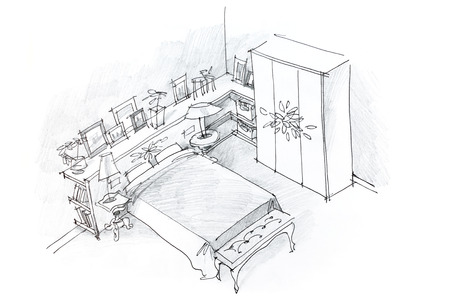 freehand pencil drawing of modern bedroom interior, black and white