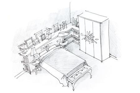 uit de vrije hand potloodtekening van moderne slaapkamer inter, zwart en wit