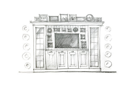 piece of furniture: pencil drawing design of a piece of furniture for living room interior Stock Photo
