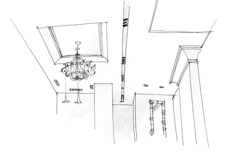 ceiling design: architectural hand drawing of ceiling light design at home Stock Photo