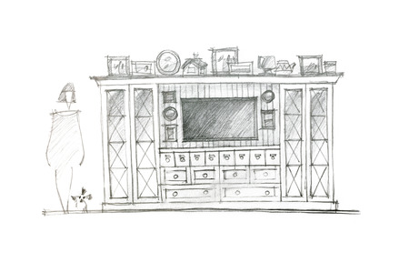 living room wall: graphical sketch of an entertainment wall for interior living room