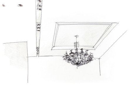 ceiling light: designer graphical sketch by pencil of variant for ceiling light