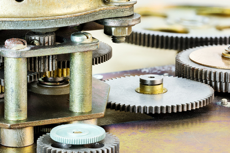 gear mechanism. cog and wheel detail. extreme closeup. Stock Photo