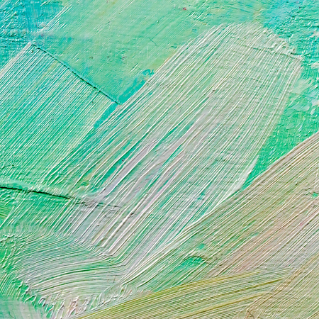 art hand painted abstract green background with brush strokes closeup Stock Photo
