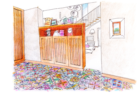 hand drawn colored sketch of living room interior design