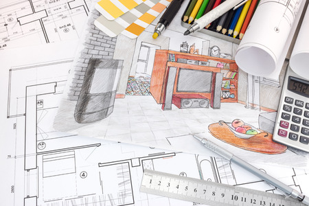 living room design: interior designer workplace with sketches of apartment and drawing tools