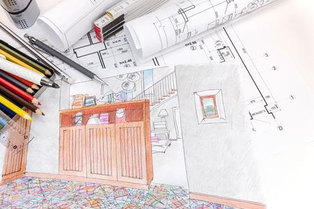 hand getrokken schetsen en blauwdrukken voor moderne kamer interieur en tekenhulpmiddelen op ontwerpers werkplek