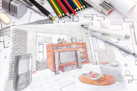 ontwerpers tekengereedschappen op gekleurde handgeschilderde schets van een woonkamer