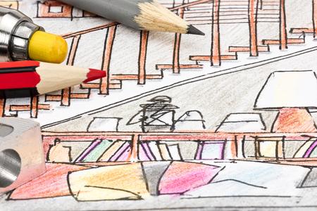 gekleurde grafische schets voor woonkamer interieur idee met ontwerper tekeninstrumenten
