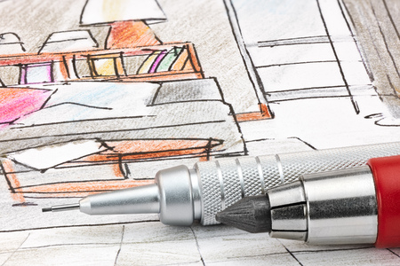house construction: designers colored sketch of modern room interior with mechanical pencils macro Stock Photo