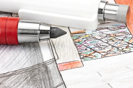 condo: colored sketch of concept for home interior with designers working tools macro view Stock Photo