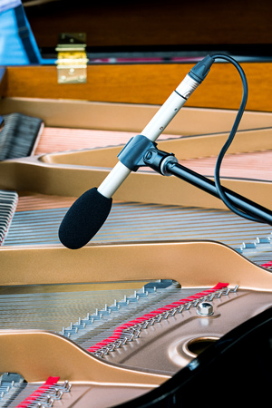 octave: professional microphone standing above the strings of grand piano