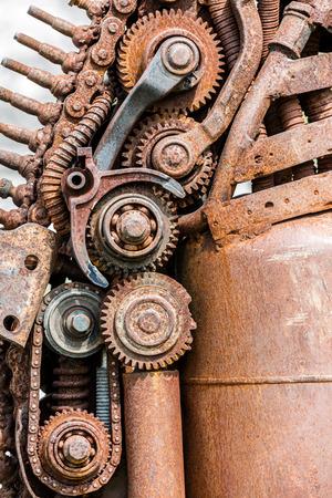 metalschrott: Grunge rostigen Metall Details der industriellen Maschinen Großansicht Lizenzfreie Bilder