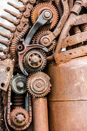 grunge rusty metal details of industrial machines closeup
