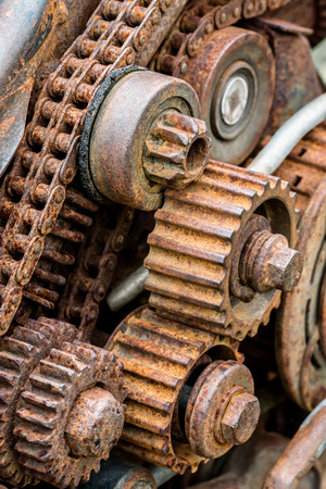 old worn out gear wheel under corrosion closeup