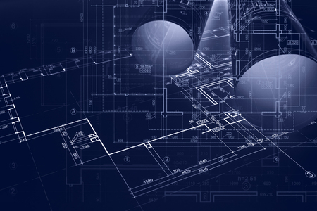 architect workplace background. construction concept. architectural blueprint rolls, engineering plans and sketches