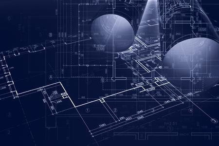 architecte concept de construction. fond de conception. processus de réparation architecturale de l & # 39 ; ingénierie et des croquis
