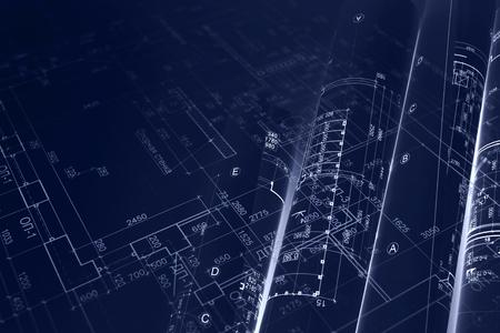 Hausprojektplan, Blaupausenrollen für Tiefbauhintergrund. blau getöntes Bild. Doppelbelichtung.