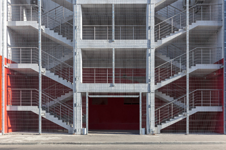 Industrial Building Emergency Exit Staircase Or Fire Escape. Modern  Building Exterior Stock Photo   103901911