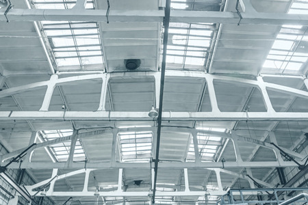 roof of the industrial building. factory interior roof structure beam