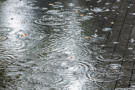 city sidewalk with big water puddles during heavy rain closeup view Banque d'images - 109634042
