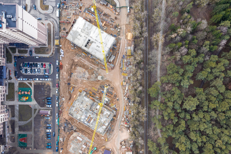 aerial view of construction site. development of new residential area. drone photography