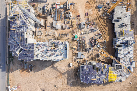 aerial top view of construction site. developing of new city area. drone photography Stockfoto