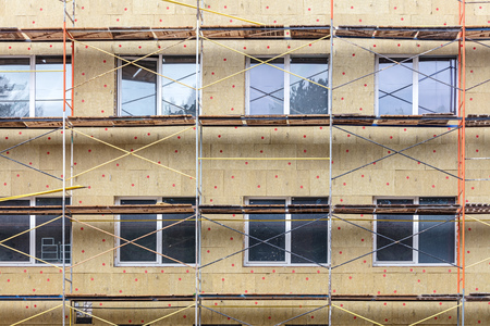 exterior house wall heat insulation with mineral wool. thermal protection of building facade Reklamní fotografie